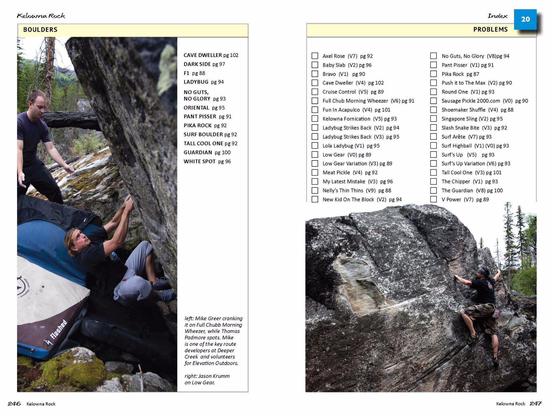 Bouldering Index pages, Kelowna Rock Climbing guidebook