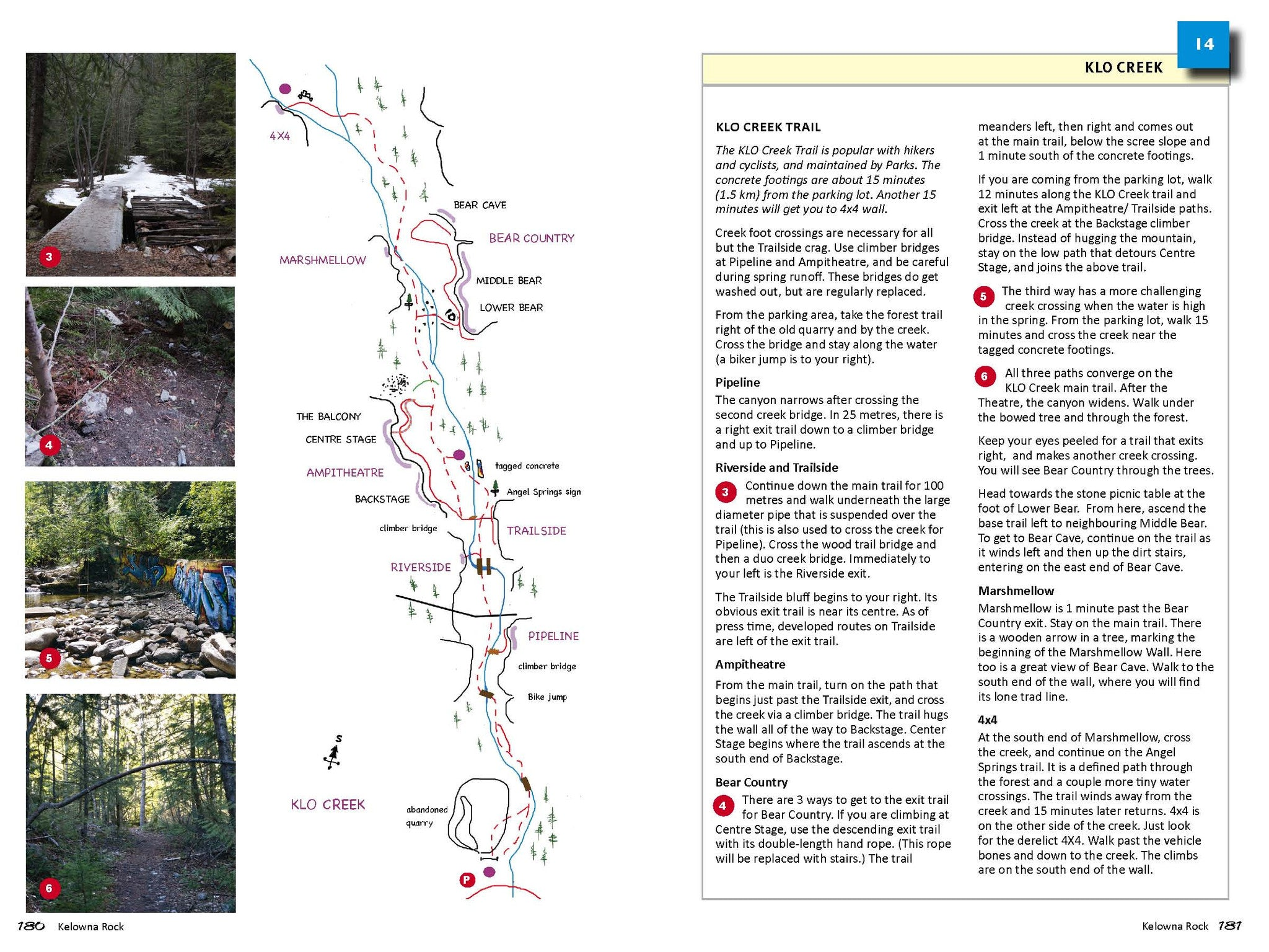 KLO Creek Trail and trail directions, Kelowna Rock Climbing guidebook
