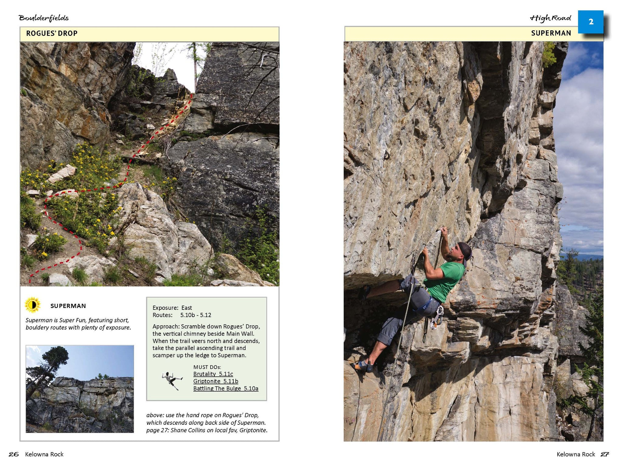Superman Wall info, Boulderfields, Kelowna Rock Climbing guidebook