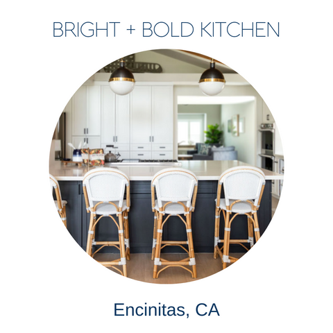 Bright and bold coastal kitchen remodel by Encinitas interior designer Hanin Smith