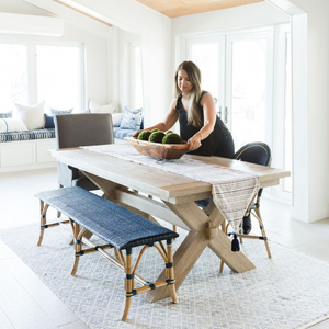 Coastal dining room Design by Encinitas based interior designer Hanin Smith of Beachy Boheme.