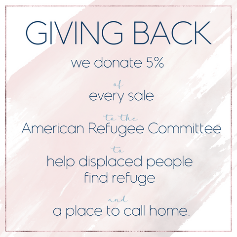 giving back five percent to charity beachy boheme american refugee comittee