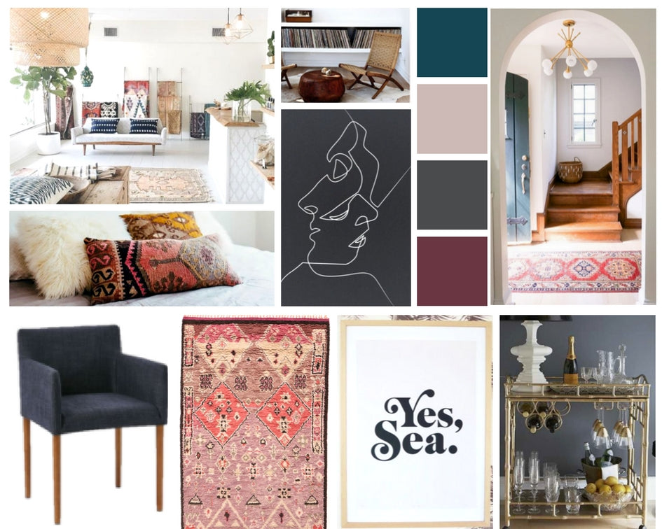 One Room Challenge Mood Board - Beachy Bohème