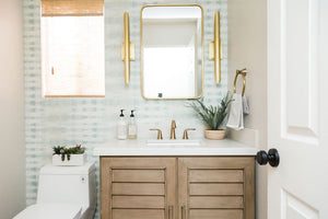 Beachy Powder Room Design by Encinitas based interior designer Hanin Smith of Beachy Boheme.