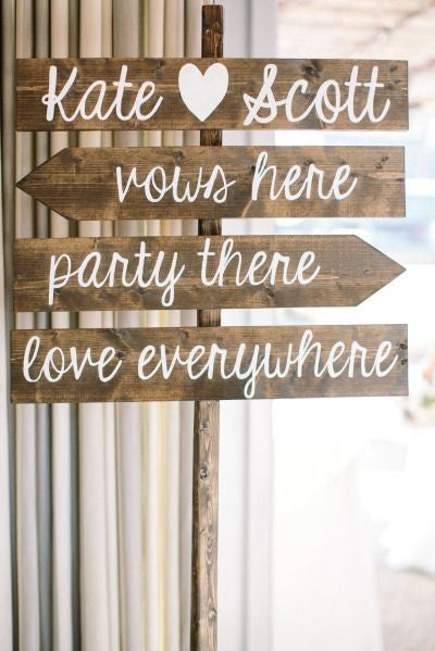 Wooden Wedding Arrows - Directional Stake Sign Rustic Wedding - Heart And Hand