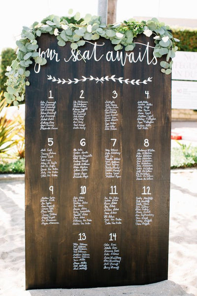 Seating Chart Wedding Sign - Rustic Wedding Wooden Board Sign - Heart And Hand
