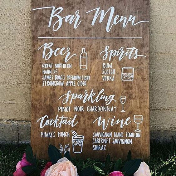 Wedding Bar Menu Sign - Rustic Wooden Wedding Alcohol Selection Sign - Heart And Hand
