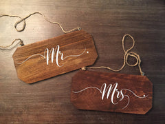 Wedding Chair Signs - Mr Mrs His and Hers Rustic Chair Signs - Heart And Hand