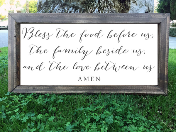 Bless The Food Before Us - Framed Artwork Rustic Home Decor Hand Painted Sign - Heart And Hand