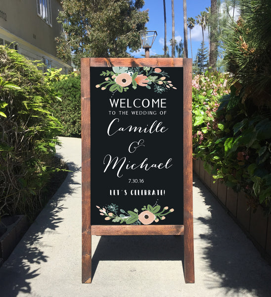 Welcome Wedding Sign - Rustic Wedding Chalkboard Sandwich Board | Wedding Easel Sign Floral - Heart And Hand