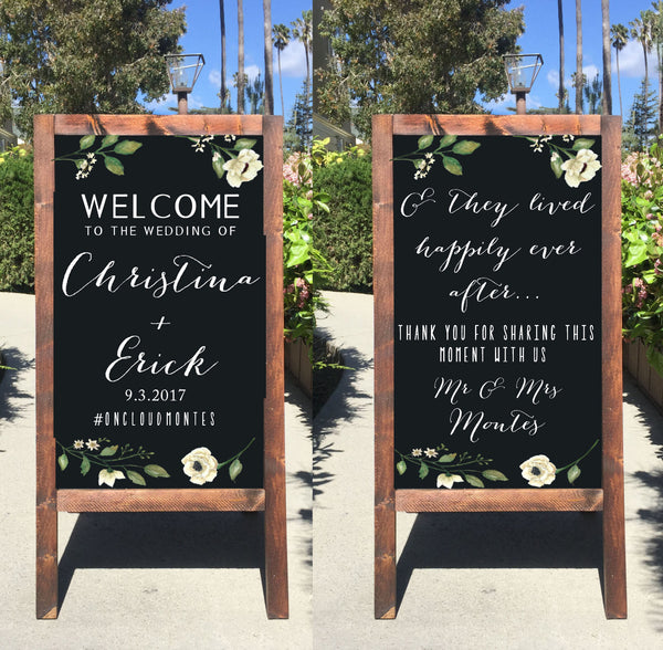 Rustic Wedding Sign - Welcome Chalkboard Welcome Wedding Sandwich Board