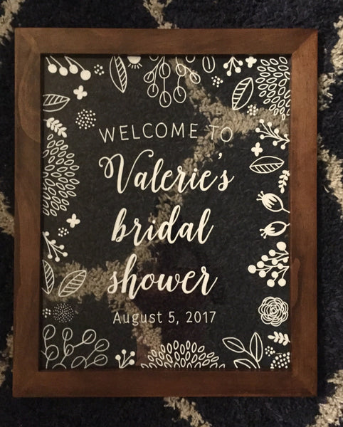 Welcome Bridal Shower Framed Glass Sign Rustic Baby Shower Decor Sign