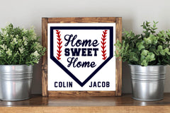 Baseball Sign - Personalized Home Sweet Home Nursery Rustic Home Decor Wooden Sign - Heart And Hand