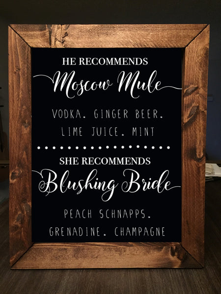 he recommends she recommends drink wedding sign framed chalkboard wedding bar sign heart and