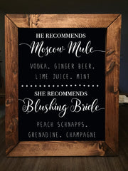 He Recommends She Recommends Drink Wedding Sign - Framed Chalkboard Wedding Bar Sign - Heart And Hand