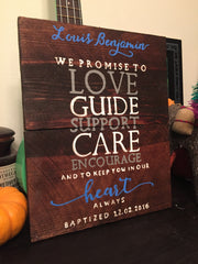Baptism Sign, Baptism Gift Idea, Wooden Baptism Sign, Baptism Quote, Rustic Baptism, Baptism Decor - Heart And Hand