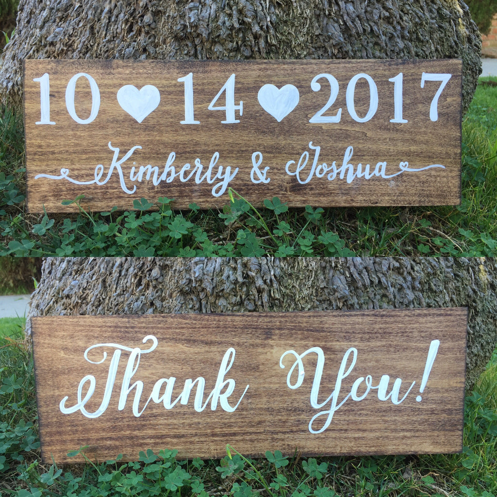 Save The Date Thank You Photoshoot Double Sided Wooden Wedding Sign - Rustic Save The Date Sign - Heart And Hand