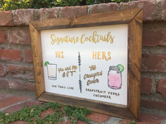 Signature Drinks - Rustic Wedding Framed White and Gold Sign Signature Cocktails His and Hers Bar Sign - Heart And Hand
