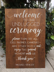 Unplugged Ceremony Wooden Board Sign - Welcome Wedding Sign Wooden Board - Heart And Hand