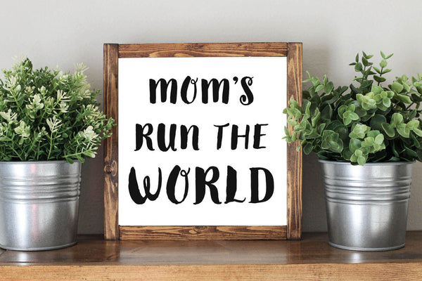 Mother Day Quote Gift Mom's Run The World - Framed Artwork Rustic Decor Chalkboard Sign - Heart And Hand