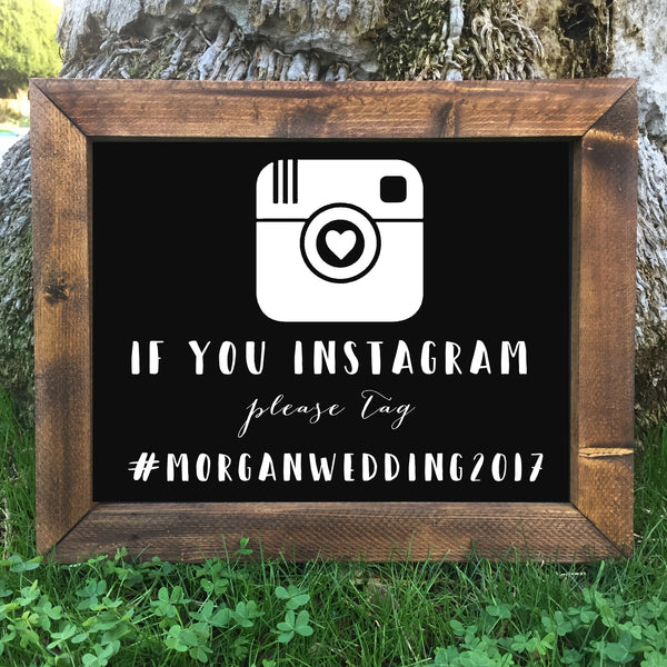 Rustic Wedding Sign - Help Us Capture The Love Instagram Social Media Hashtag Framed Rose Gold Chalkboard Sign - Heart And Hand