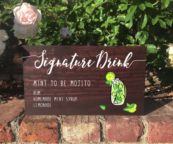 Signature Drink Bar Sign Wedding Sign Rustic Wooden Stand Alone Sign - Heart And Hand