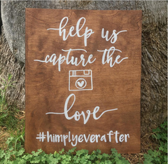 Hashtag Social Media Help Us Capture The Love - Rustic Wooden Wedding Sign - Heart And Hand