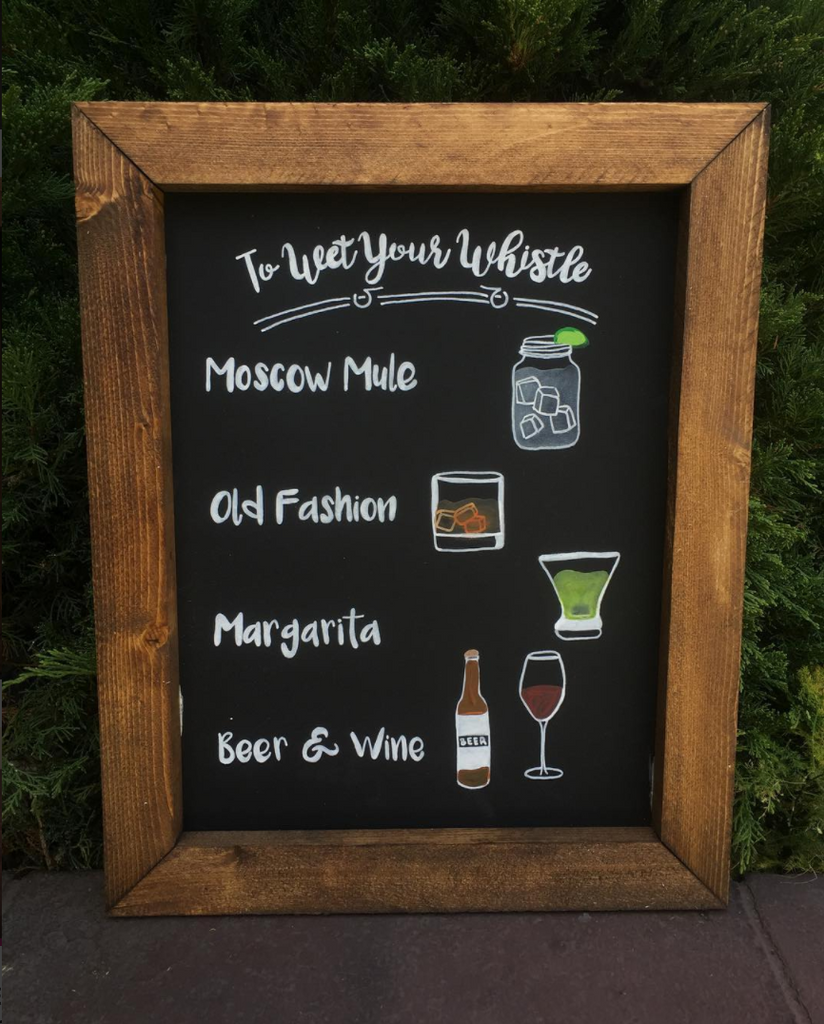 Wedding Bar Sign Wet Your Whistle - Rustic Framed Chalkboard Wedding Alcohol Selection Sign - Heart And Hand