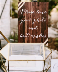 Polaroid Guestbook - Rustic Wedding Wooden Sign Gold - Heart And Hand