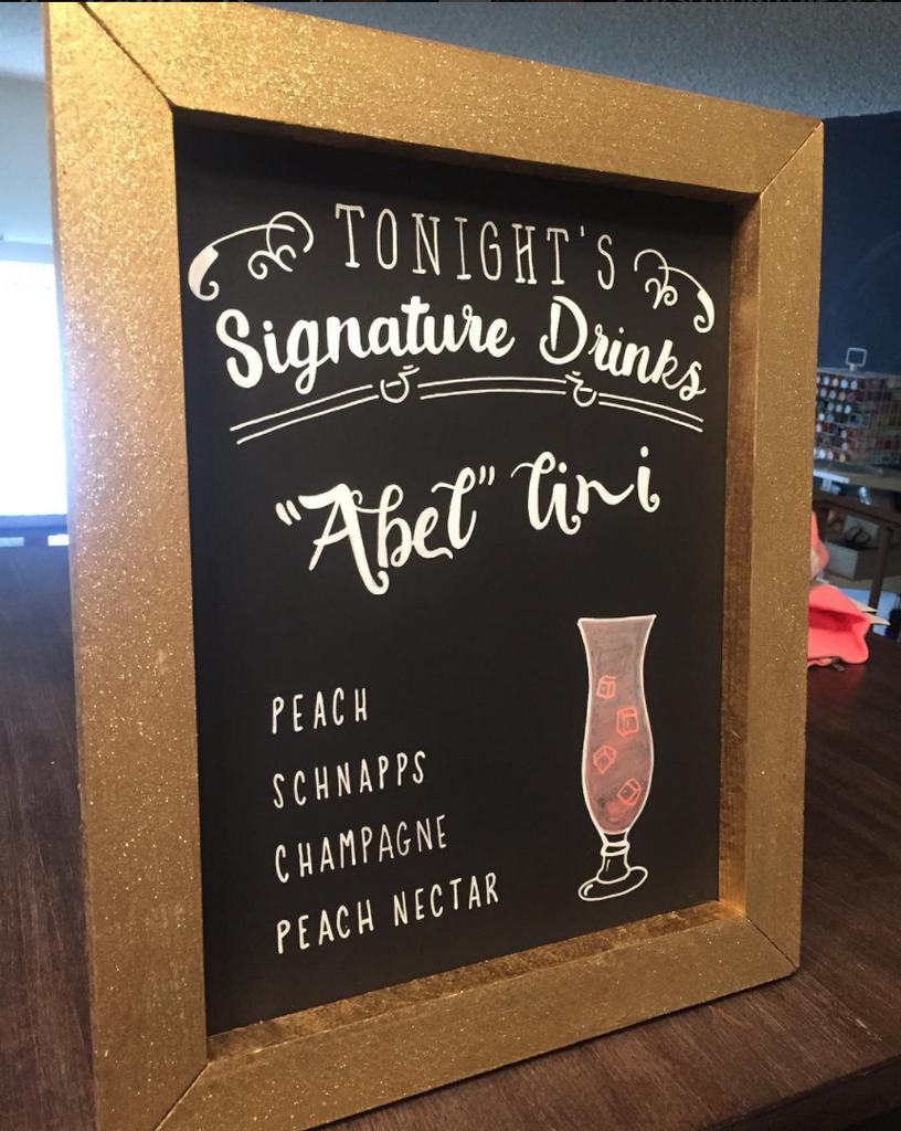 Signature Drink - Rustic Wedding Framed Chalkboard Sign Gold Glitter Wedding Bar Sign - Heart And Hand
