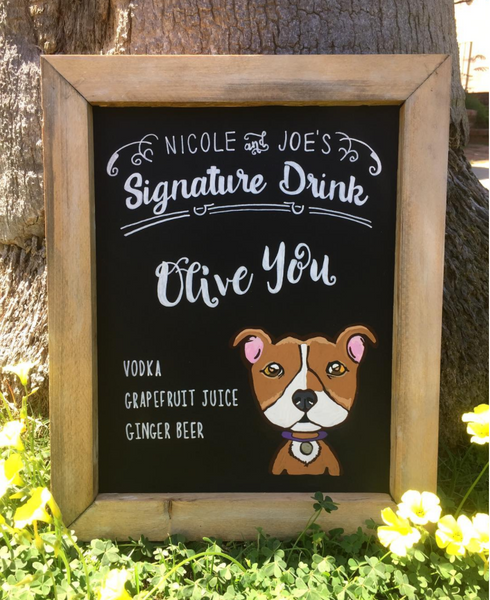 Signature Drink Pet Portrait Rustic Wedding Sign - Framed Chalkboard Wedding Bar Sign - Heart And Hand