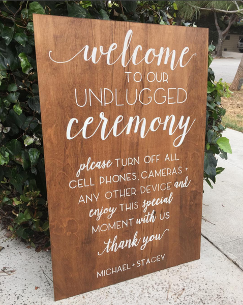 Unplugged Ceremony Wooden Board Sign - Welcome Wedding Sign Wooden Board