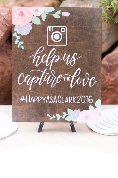 Hashtag Social Media Help Us Capture The Love - Rustic Wooden Wedding Sign (EASEL INCLUDED) - Heart And Hand