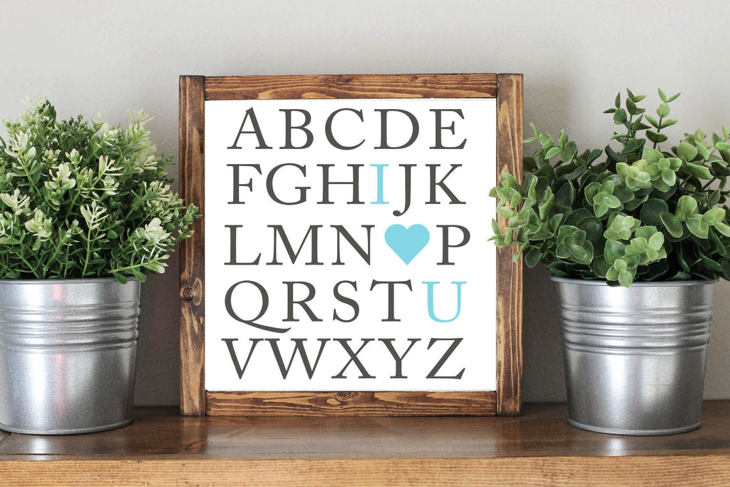 ABC I Love You - Framed Artwork Rustic Nursery Decor Wooden Sign - Heart And Hand