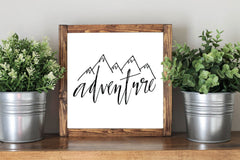 Adventure Sign - Framed Artwork Rustic Home Decor Nursery Decor Wooden Sign - Heart And Hand