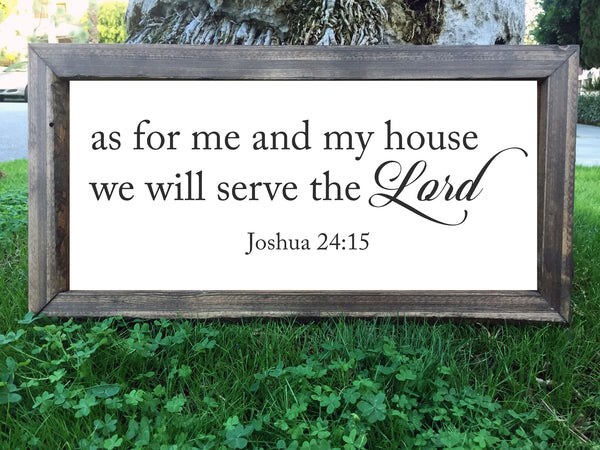 As For Me And My House We Will Serve The Lord - Framed Artwork Rustic Home Decor Hand Painted Sign - Heart And Hand