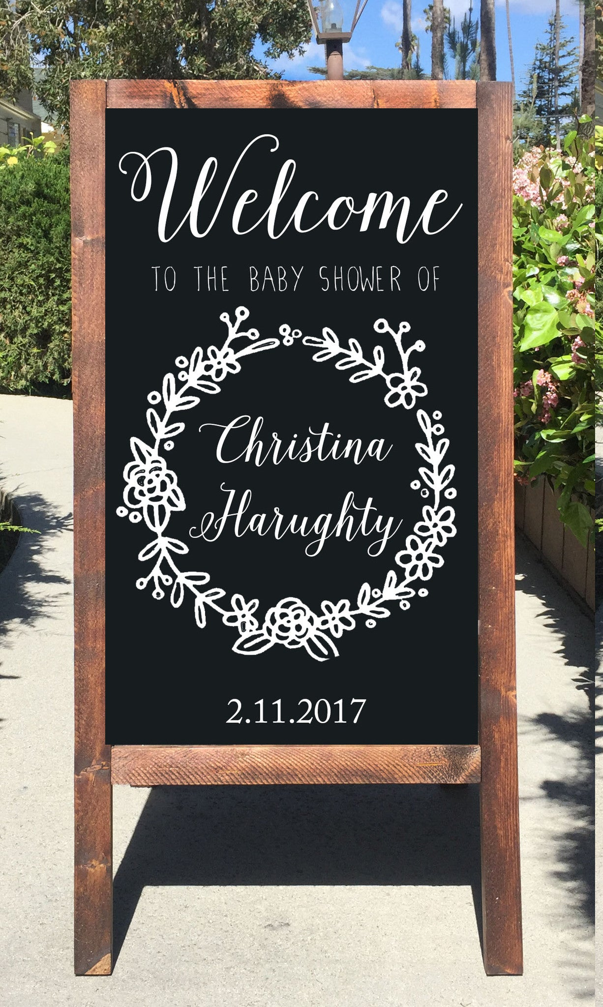 Welcome Baby Shower Chalkboard Sign Rustic Sandwich Board Easel Sign    Heart And Hand