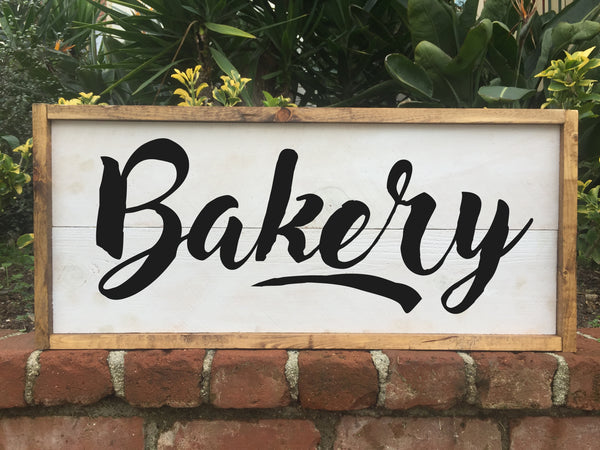 Bakery - Framed Artwork Rustic Home Decor Hand Painted Sign - Heart And Hand