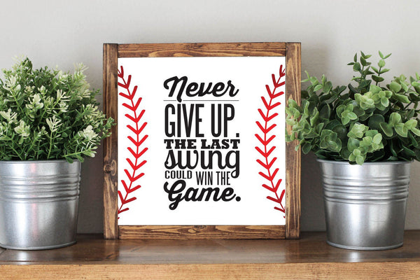 Baseball Quote Sign - Wooden Baseball Rustic Home Nursery Decor Sign - Heart And Hand