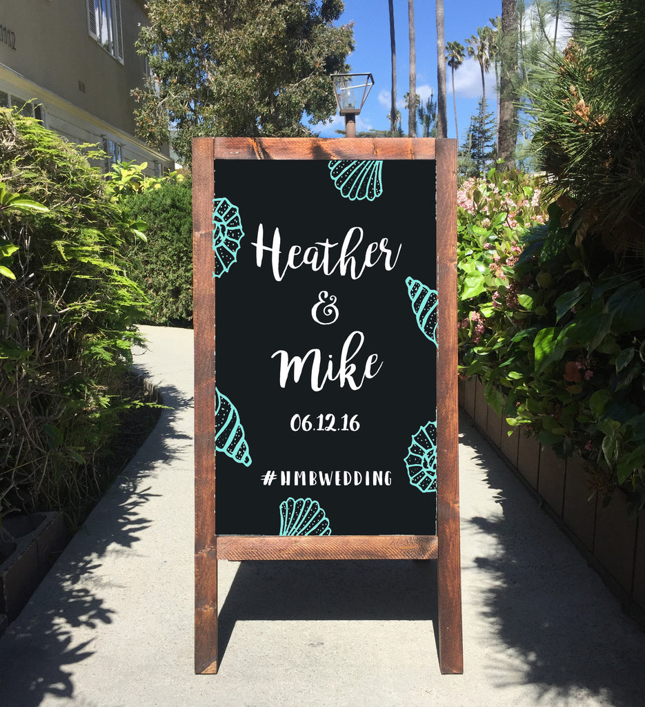 Welcome Beach Wedding Sign - Rustic Wedding Chalkboard Sandwich Board | Nautical Wedding Easel Sign | Beach Wedding - Heart And Hand