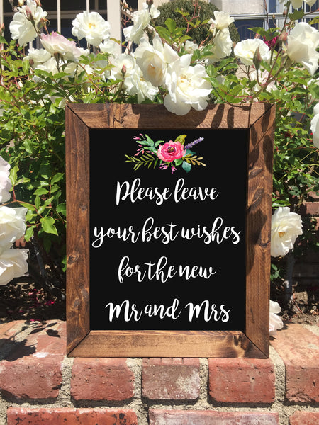 Please Leave Your Best Wishes Sign Our Guestbook - Rustic Wedding Framed Chalkboard Sign - Heart And Hand