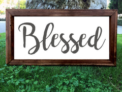 Blessed - Framed Artwork Rustic Home Decor Nursery Hand Painted Sign - Heart And Hand