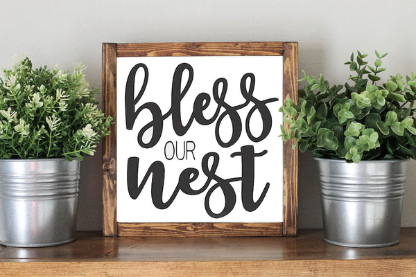 Bless Our Nest - Framed Artwork Rustic Home Decor Nursery Wooden Sign - Heart And Hand