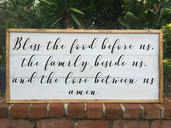 Bless The Food Before Us, The Family Beside us and The Love Between Us - Framed Artwork Rustic Home Decor Shabby Chic Hand Painted Sign - Heart And Hand