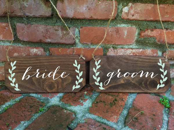 Wedding Chair Signs - Bride and Groom Rustic Chair Signs - Heart And Hand