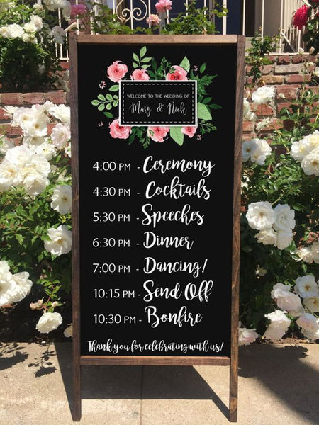Rustic Wedding Program Ceremony Order Schedule Welcome Wedding Chalkboard Sandwich Board - Heart And Hand