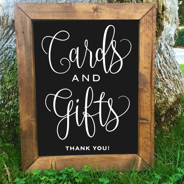 Cards and Gifts - Rustic Wedding Framed Chalkboard Sign - Heart And Hand