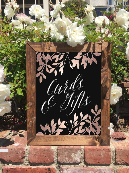 Cards and Gifts - Rustic Wedding Framed Chalkboard Rose Gold Sign - Heart And Hand