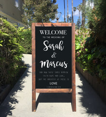 Welcome Wedding Sign - 1 Corinthians And These Three Remain Bible Verse Rustic Wedding Chalkboard Sandwich Board | Wedding Easel Sign - Heart And Hand