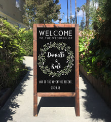 Welcome Wedding Sign - And So The Adventure Begins Rustic Wedding Chalkboard Sandwich Board | Wedding Easel Sign - Heart And Hand